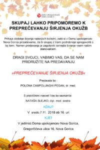 Vabljeni na predavanje V Dom upokojencev Nova Gorica: PREPREČEVANJE ŠIRJENJA OKUŽB